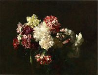 Dream-art Oil painting Latour - Carnations still life flowers canvas handpainted