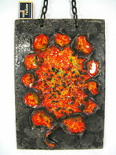 """Beautiful 70´s design Carstens LUSSO CERAMICA CHAIN wall plaque """"SUNFLOWER"""""""