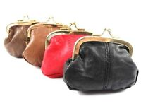 LADIES GIRLS LUXURY SOFT  REAL LEATHER CLIP TOP COIN PURSE POUCH WALLET