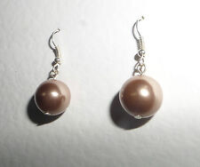 CHAMPAGNE PINK PEARL PLUMP DROP EARRINGS SILVER PLATED WIRES HOOKS