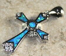 SILVER Elegant Blue Fire Opal Cross Pendant Jewelry WP40203