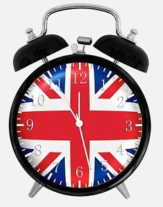 "Union Jack UK Flag Alarm Desk Clock 3.75"" Home or Office Decor Z114 Nice Gift"