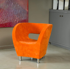 Upholstered Modern Barrel Orange Accent Arm Club Chair Fabric Bedroom Office