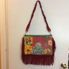 HANDMADE EMBROIDERED SHOULDER BAG COTTON WITH LEATHER FRINGES. MEXICO