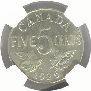 CANADA 1926 NEAR 6 5¢ NGC AU50