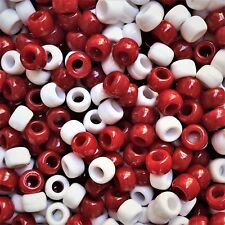 100 x Red and White Opaque Barrel Shape Pony Beads Xmas Candy Canes 9x6mm