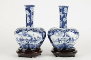 Chinese 20th century tulip vases, blue and white porcelain, prunus