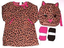 NWT BABY GAP Girls Leopard Trim Dress Pink Brown Tights Set Sz. 4