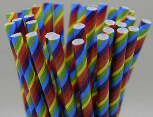 Rainbow paper straws birthday gay pride drinking UK stock quantity x 25