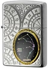 New Zippo Lighter 12 Constellation Aquarius Silver Metal Oil Lighter