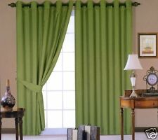 """Faux Silk Fully Lined Eyelet Curtains Ring Top Moss Green 66"""" x 72"""" inches"""