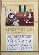 Art Deco 1938 Advertising Calendar/Poster Sample - Family on Sunday Afternoon