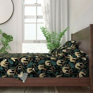 Tropical Sloths Nature Botanical Floral 100% Cotton Sateen Sheet Set by Roostery