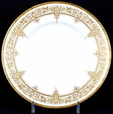 12 Minton Art Nouveau Gilded Plates: gold encrusted, gilt, gold beading