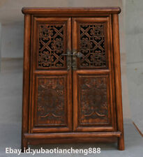 Old Chinese HuangHuaLi Wood hand-made Dragon Statue Cupboard Cabinet furniture