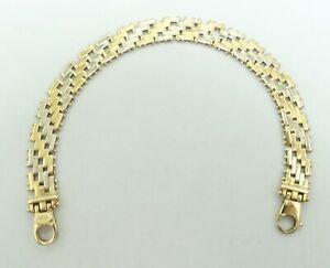 """14K Yellow & White Gold Diagonal Beaded Link Bracelet 9mm 7"""" 11.9g D8676"""