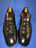 GUCCI MEN'S 247494 Black LOGO PLATE APRON TOE LOAFERS Sz 8
