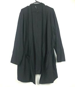 Eileen Fisher Woman Black Long Open Pockets Cardigan Viscose Women's Sweater
