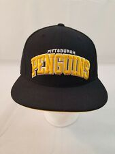 Pittsburgh Penguins Mitchell and Ness Fitted 7 3/4 Fitted Flat Hat Cap Wool NHL