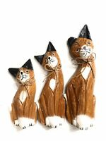 Decorative Cat Statue Set Of 3 Wood Carved & Painted Cat Lover by Zenda Imports