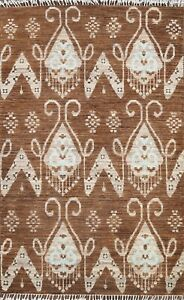 Brown Geometric Oriental Contemporary Area Rug Hand-knotted Wool New Carpet 3x5