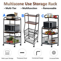 Multi Tier Bakers Rack Storage Rack Kitchen Microwave Oven Stand Rol