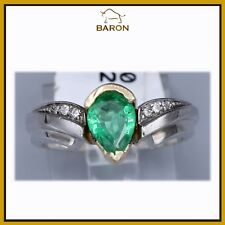 EMERALD RING CLASSIC VINTAGE 14K WHITE GOLD DIAMONDS EMERALD RING SIZE 7 (md20