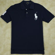 New Ralph Lauren Polo Shirt Mesh Men Custom Fit Navy Blue Shirt White Big Pony