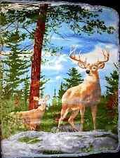 "Two Deer Hunting Wilderness Full/Queen Mink Throw Blanket (78"" x 94"")"