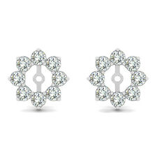1.28 Carat G-H Round Diamond Solitaire Stud Earring Jackets Halo 14K White Gold