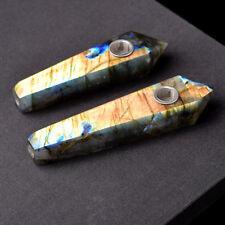 Natural Labradorite Quartz Crystal Smoking Pipe Gray Moonstone Cigarette Pipes