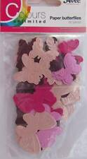 60 Die Cut Paper Butterflies Pink & Cream Card Making Scrapbooking Embellishment