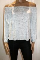 COTTON ON Brand White Charcoal Long Sleeve Off Shoulder Top Size M BNWT #TN10
