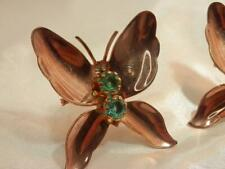 Super Vintage 50's Copper Collar Rhinestone Set of 2 Brooches see text 6O9