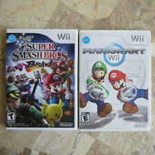 Nintendo Wii LOT✨MARIO KART WII + SUPER SMASH BROS BRAWL✨USA Brothers Complete