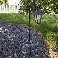 LED Solar Hanging Lights Lanterns on Shepherds Hook Metal Pole (Set of 2)