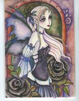 ACEO S/N LE GOTHIC VICTORIAN COSTUME FAIRY GIRL BLACK ROSE FLOWER RARE ART PRINT