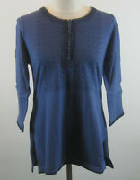 Isaac Mizrahi 3/4 Sleeve Embroidered Knit Tunic Top Blue S NEW A216057