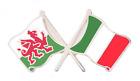 Italy Flag & Wales Flag Friendship Courtesy Pin Badge