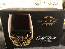 Fitz and Floyd Gold Luster Mouth Blown Stemless Set of 4 Wine Glasses NEW in Box