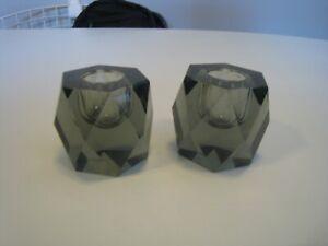 Pair 1960s Italian Murano Grey Cut Glass Candlestick Holders