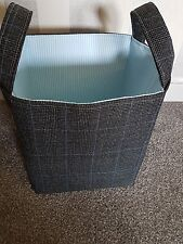 Large Storage Basket/Box. Smart Suit Check Fabric with Blue Pinstripe Lining.
