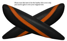BLACK & Orange 2x PANTHERS SPORTELLO BRACCIOLO PELLE COPERTURA Adatta per BMW Mini Cooper R56 07-14