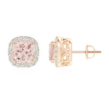 Morganite Stud Earring Cushion With Halo Simulated Diamonds 14k Rose Gold Over