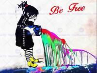 PHOTO GRAFFITI STREET WALL BE FREE WITH PAINT ART PRINT POSTER HP1845