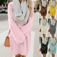 Women Long Sleeve Fleece Winter Jumper Knit Turtleneck Warm Mini Sweater Dress