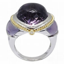 De Buman 18K White Gold 20.73ctw Genuine Amethyst & Diamond Ring, Size 7