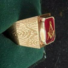 14ct Gold Masonic Grand Lodge Enamel Signet R Size T US 9.50 8.80g Superb No Res