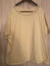Catherines Blouse 5X Plus White Short Sleeves NWT Cotton Spandex Floral