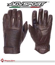 Guantes de cuero marrón de motocicleta, Guantes de piel de motocicleta, AGV VERO